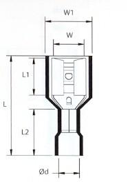 Teljesen  Szigetelt Csúszósaru Hüvely 6,6 X( 1,5 ~ 2,5 mm2 ) (min. 100 db rendelhető)