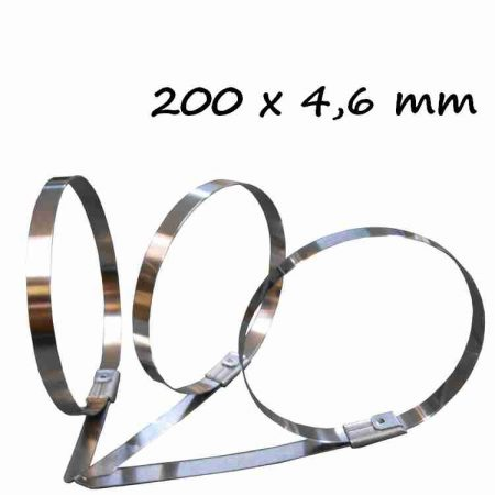 Rozsdamentes acél kötegelő ,200x4.6 mm (min. 100 db rendelhető)