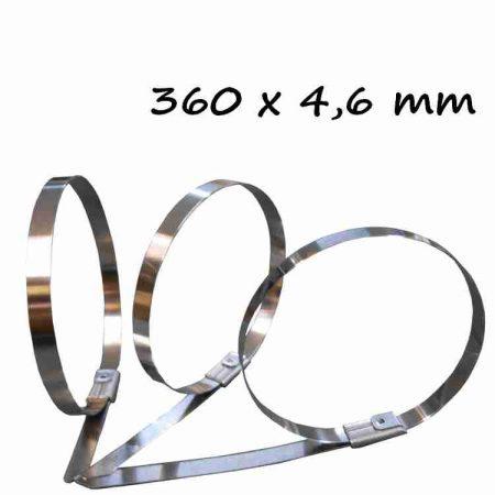 Rozsdamentes acél kötegelő ,360x4.6 mm (min. 100 db rendelhető)