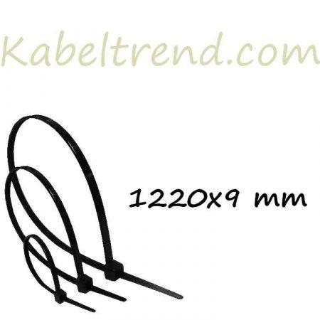 Gyorskötöző, Kábelkötegelő (1220x9 mm, Fekete) (min.100 db rendelhető)