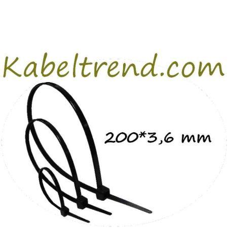 UV álló kábelkötegelő, kötegelő ,200X3.6 mm, Fekete (min. 100 db rendelhető)