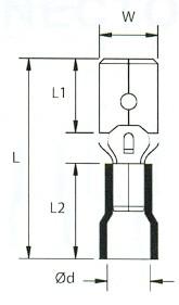 Szigetelt Csúszósaru Csap  6,3 X ( 0,5 ~ 1,5 mm2 ) (min. 100 db rendelhető)